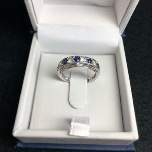 Lab created Sapphire ring .925 silver